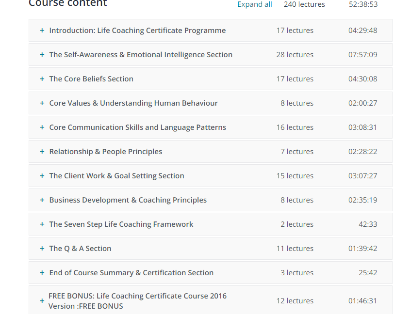 "Lectures and Hours of Training In Kain Ramsay""s Life Coaching Certificate Course (Beginner to Advanced) ."